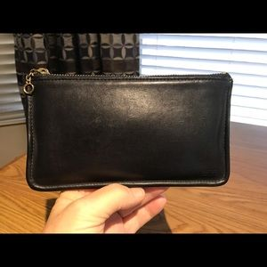 Coach Black Smooth Leather Clutch/case